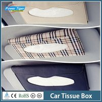 100% Cotton Bamboo ECO Friendly New Car Interior PU leather Frame Sun-shading Board Hanging Tissue Box Auto Accessories Napkin Storage Box Paper Towel Holder