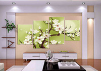 Wholesale 4 Piece Hot Sell Modern Wall Painting Art Picture Paint on Canvas Prints The bright bright moon Pure white flowers on the tree