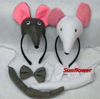 Wholesale Cute D Farm Animal Mouse Rat Party Costume Cute Headband Bow Tail PC set