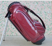 Wholesale stand golf bag brand PU Golf stand Bag quot in red with dividers