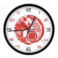 Cheap 12 Inches Quartz Wall Clock High Quality Creative Chinese Scissor-cut Design Festival Wedding Home Decor Sweep Movement Silent Tick Clocks