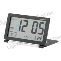 Wholesale Folding Travel Digital Alarm Clock With World Time Table Black