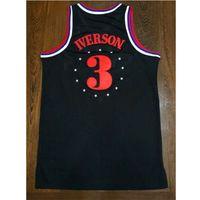 t-shirts no logo - Philadelphia Retro Black Jerseys The Answer Iverson Jersey Shirts Red Net T Shirts Mesh Embroidery Logo
