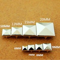 b squared clothing - 100 Piece DIY Silver Punk Metal Pyramid Square Rivet Shoes Bag Clothes Accessories Rivets Decorations More Size M045