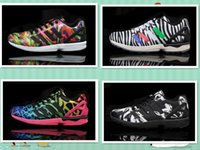 Wholesale Free shopping New Color Women s and Men s Original ZX FLUX sports Shoes Reflective ZX Flux Running Shoes with torsion