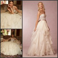 Wholesale A Line Sweetheart Wedding Dresses Corset And Priya Skirt Bridal Gowns Crystals Beaded Lace Beach Ruffled Tulle Sweep Train