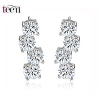 american tennis stars - Teemi Female Brand Design Wedding Bridal Fashion Shinning Clear Cubic Zircon Star Tennis Dangle Earrings Copper Accessories