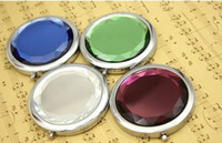 Wholesale Mixed Colors Cosmetic Pocket Compact Stainless Makeup Mirrors Travel Must Fashion Cute Design DHL Free Ship Logo Print