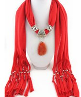 accessories natural dyes - Good Pendant Cotton Scarf Jewelry Women bib Collar scarf fashion natural multicolor agate pendant scarf jewelry Accessories scarf LD