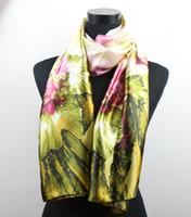beach flowers - 1pcs Pink Flower Hunter Leaves Women s Fashion Satin Oil Painting Long Wrap Shawl Beach Silk Scarf X50cm
