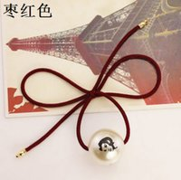 Wholesale Sale Whole Korean elastic ring jewelry pearl bows roses beautiful head rope hair rings rubber bands band Tousheng g