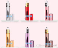 Wholesale 10ML Portable Roll on refillable Empty Glass Bottle with METAL roller for Essential Oils eye Massage Perfumes by DHL Free ship