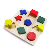 Wholesale Preschool Geometry Jigsaw Puzzle Wood Shape Blocks Children s Educational Toys for years old Child Toys