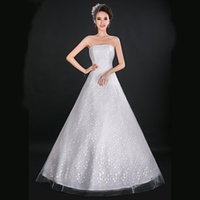Wholesale 057 Customize Plus Size Wedding Dress Hot Sale Strapless A Line Bridal Gown Laceup Ocean Wave Design Lace Wedding Dress