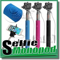 Universal   Monopod Handheld Telescopic Self Timer Handheld With Cable Z07-5 plus Cable with holder selfie stick For Iphone 6 Samsung galaxy Note