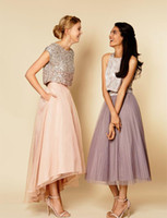 asymmetrical bridesmaid dresses - Blush Pink Two Pieces Bridesmaid Dresses Sexy High Low Bling Wedding Party Gowns For Bridesmaid