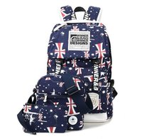 Wholesale England Style Pet Printed Travel Bag Sets Navy Canvas Duffle Bag Tote Crossbody Bag Backpack