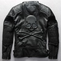 Wholesale Fall Fashion Men s motorcycle jacket with skulls black cowhide genuine leather jacket thick punk outerwear brand jaquetas de couro
