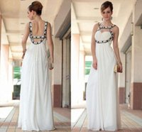 Wholesale New White Halter Cheap Long Bridesmaid Dresses Empire Waist Chiffon Beaded Hollow BacK Floor Length Wedding Party Gowns For Women Top ZQ