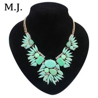 artificial gold jewellery - Latest Fashion Artificial Gemstone Gold Choker Necklace Luxury Crystal Bohemian Statement Necklace Womens Jewellery