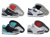 girls basketball shoes - retro kids basketball shoes for boy girl black white cement GS infrared high quality US size C Y