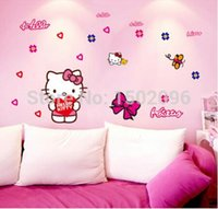Wholesale 100 NEW hello kitty wall stickers for car kids room living room home decoration waterproof removable