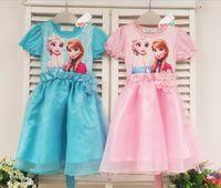 4T-5T Lace Summer 2015 Summer Baby Girl Dress Elsa Anna Princess Cartoon Frozen Dresses Blue Pink 2 Colour 100-140 Fit 3-8Age Child Costumes TR103