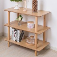 bamboo wood furniture - Simple modern storage rack tiered stand solid wood white oak furniture The living room storage rack