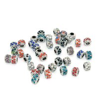 Wholesale Double Row Crystal Ancient Silver Round Big Hole Charms Beads Accessories Fits European Pandora Snake Chain Bracelets Bangles DIY Jewelry