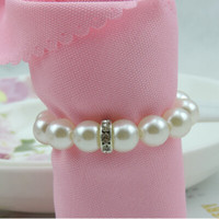 Wholesale Cheap Sale White Pearl Diamond Napkin Rings For Hotel Wedding Banquet Table Decoration Accessories Party Supplies