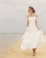 short wedding dresses - Summer Beach Short Wedding Dresses Princess Off the Shoulder with straps Flowers Satin Tea Length A line Zipper Bridal Dress Gowns New
