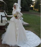 Wholesale Long Sleeve Muslim Wedding Dress Luxury Fancy Lace High Neck Collar Chapel Train Tulle Bridal Gowns Modest Designer Arabic Bride Winter