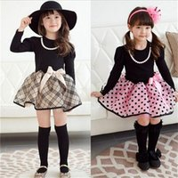 cotton dress materials - Hot Sale Endearing Autumn Children Dresses for Little Girls Round Neckline Kids Dresses With Bowknot Cotton Material New Arrival F4788