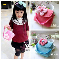 Wholesale retail Fashion velvet flower child handbag messenger bag little girl bag princess tote bag
