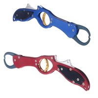 Wholesale Portable Stainless Aluminum Fishing Plier Fish Lip Gripper Grabber Controller Hook Remover Lure Fishing Tackle Tool Red Blue