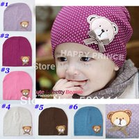 skull caps - Kids bear Beanies big size baby hat infant cap Cotton Beanie Infant Hat Skull Cap Toddler Boys Girls Hats H006