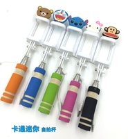 Wholesale Extendable Folding Wired Hello Kitty Santa Claus Carton Mini Self Selfie Stick Monopod To Smartphone For iPhone Perche Selfies