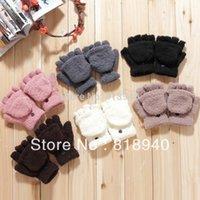 Wholesale Women Half Finger Gloves Fold Over Winter Warm Mitten Mitt Cute Black White Gray