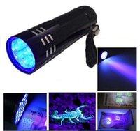 Wholesale Black LED Purple Light Aluminium Torch UV Flashlight for Blacklight Invisible Ink Marker LED