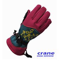 Wholesale new CRANE female high end ski gloves waterproof gloves sheepskin palm Cold durable longer section