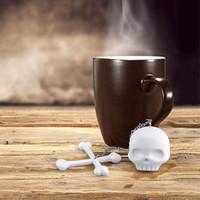 Wholesale New Silicone Bones Skull Tea Infuser Loose Leaf Tea Strainer Filter Diffuser Wedding Party Gift Favor