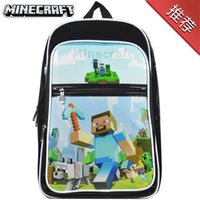 Wholesale 2015 New kid boy girl cartoon minecraft school bag double shoulder bag lunch backpack birthday christmas gift Colors DHL