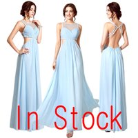Wholesale In Stock Sky Blue Backless Prom Party Dresses Sheer Neck Chiffon A line Beads Sexy Open Back Real Image Evening Gowns Top Quality