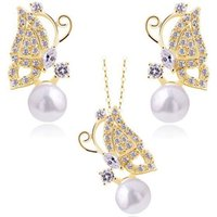 Wholesale 2016 New Fashion pearl Jewelry set Gold Plated zince Alloy Crystal Bridal Jewelry Set for bride