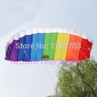 Wholesale G104 Power Dual Line Stunt Parafoil Parachute Rainbow Sports Beach Kite For Beginner