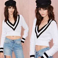 Cheap 1504-Casual Deep V-neck Short Knitted Women Winter Sweaters Fashion Black Baseball Striped Stitching Pullover 2014 New Jumper Arrival-Wholes