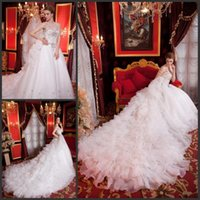 Wholesale 2015 Ball Gown Wedding Dress Sweetheart Pearl Crystal Sequins Beads Ruffles Long Train Sexy Charming Lace up Custom Made Royal Noble Appliqu