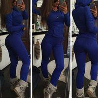 Wholesale Sexy Women S Sports Jerseys - 2016 New Fashion Sexy Twist Knitted Sweat Suit Warm Tracksuit Jersey Jumper Casual Sports Wear Hooded 2pcs Set 1545