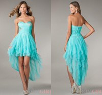 Cheap BM Pretty Girls High Low Prom Dresses 2015 Hot Sales Aqua Sweetheart Crystal Evening Gown Bead Puffy Summer Cheap On Sale Formal Party Gowns