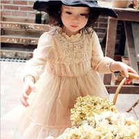 apricot clothing - 2016 Korean Style Childrens Clothing Hot Sale Girls Elegant Apricot Gauze Ball Gown Dress Kids Hollowed out Lace Princess Dress